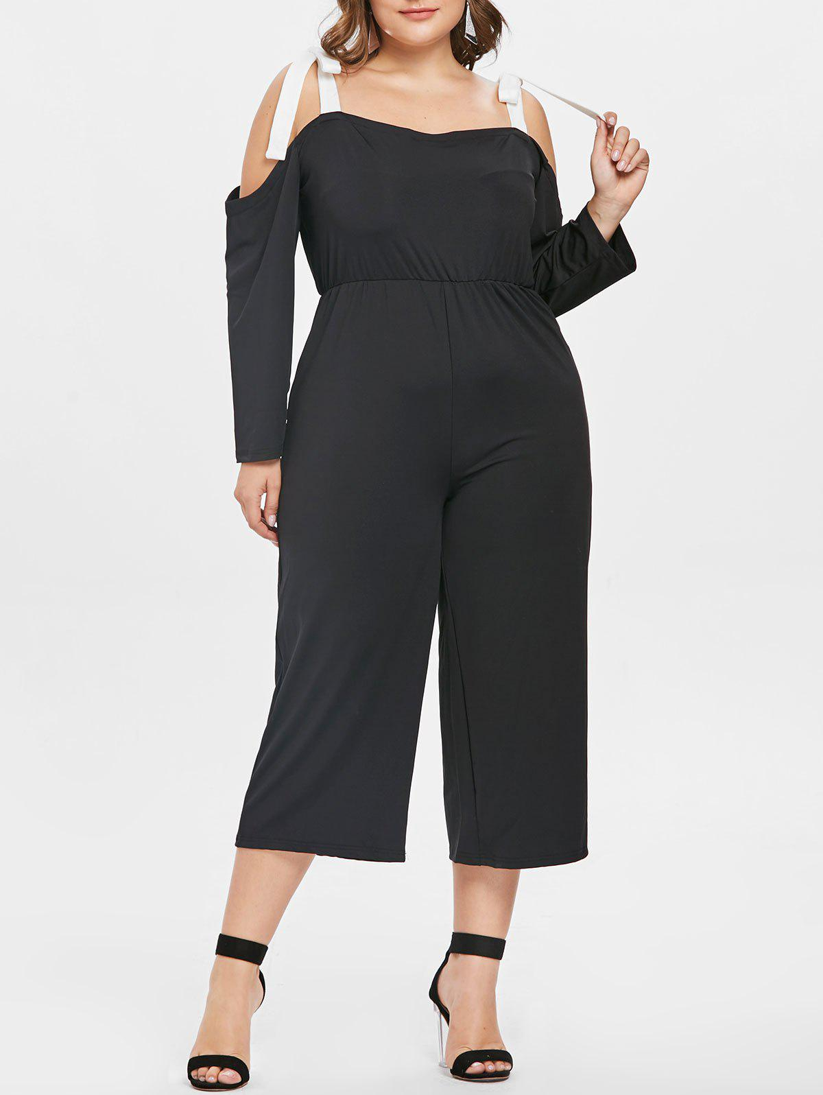 Discount Plus Size Cold Shoulder Capri Jumpsuit