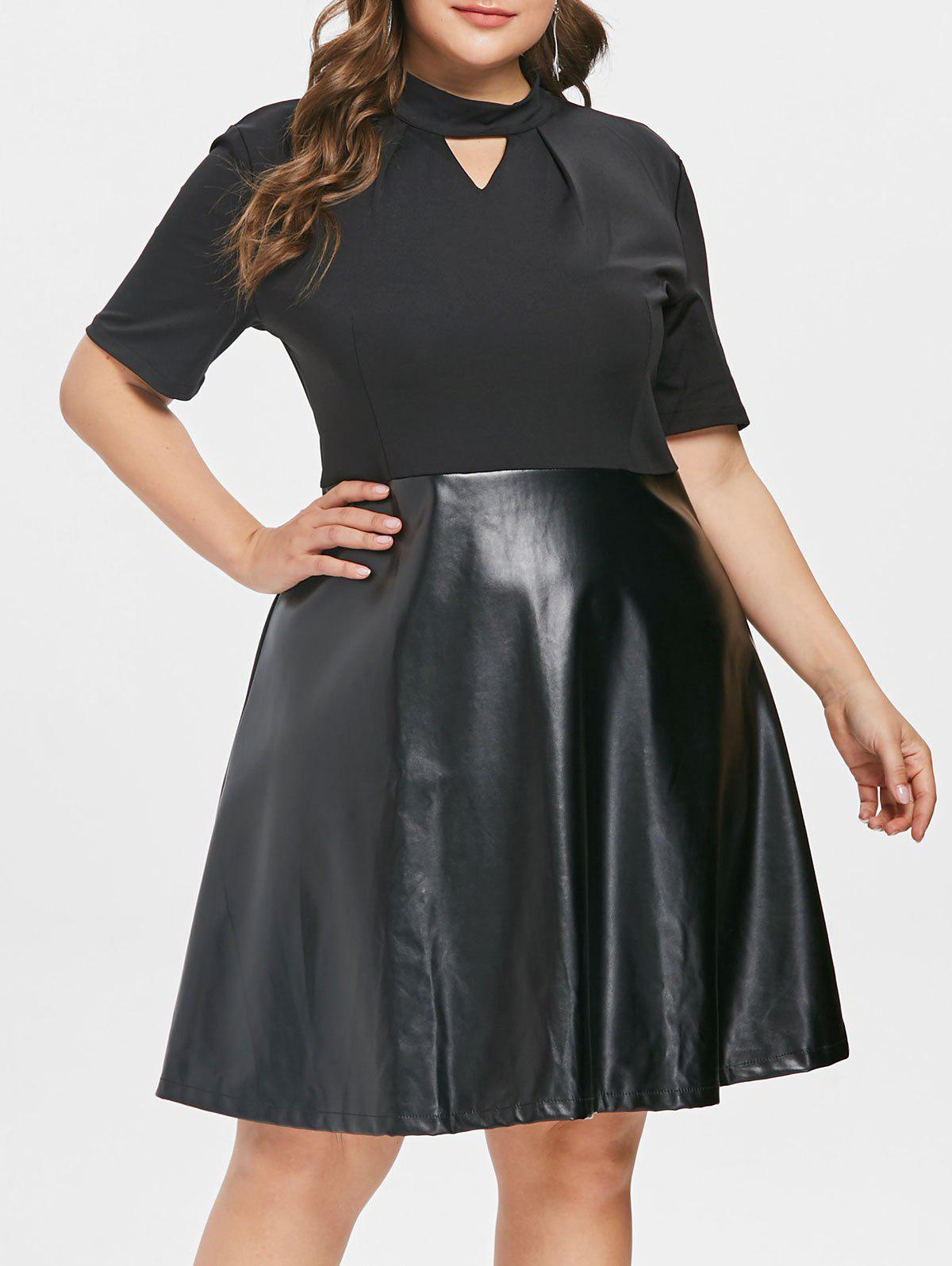 Affordable Plus Size PU Panel Keyhole Dress