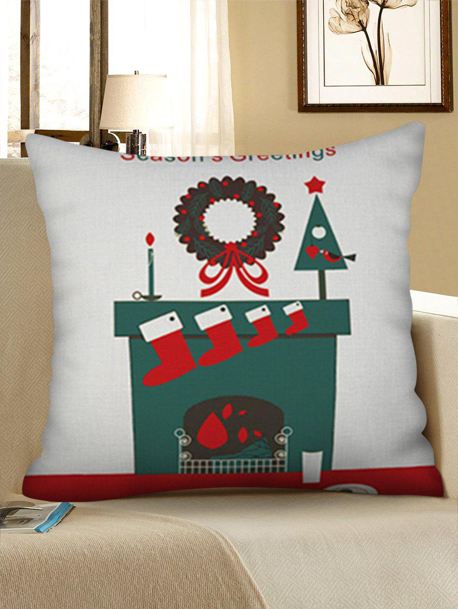 Buy Christmas Stocking Print Decorative Linen Pillowcase