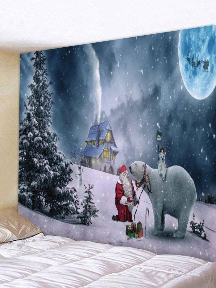 Shop Wall Hanging Art Christmas Night Bear Print Tapestry