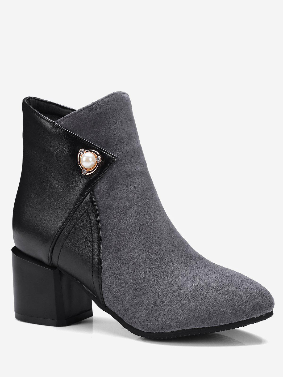 Shops Plus Size Pointed Toe Faux Pearl Short Boots