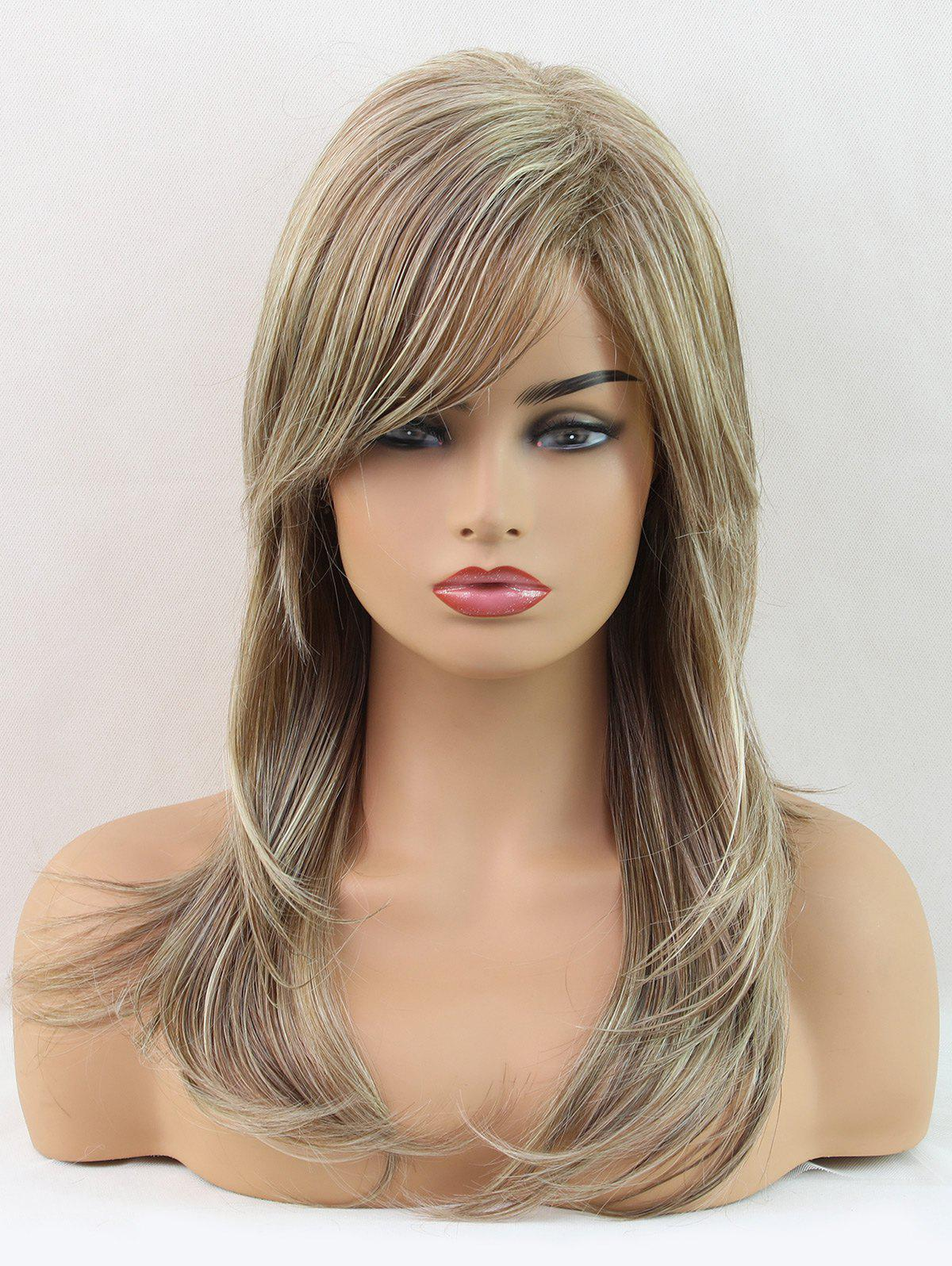 Trendy Long Oblique Bang Colormix Layer Natural Straight Synthetic Wig