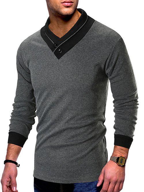 Buy Contrast Color Shawl Collar T-shirt