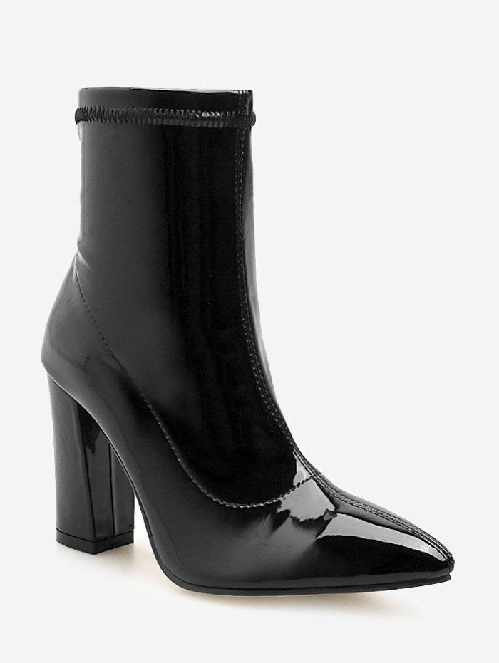Latest Pointed Toe Patent Leather Short Boots