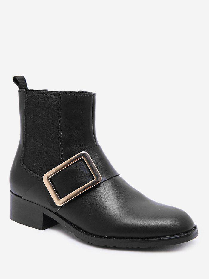 Chic Chunky Heel PU Leather Chelsea Boots