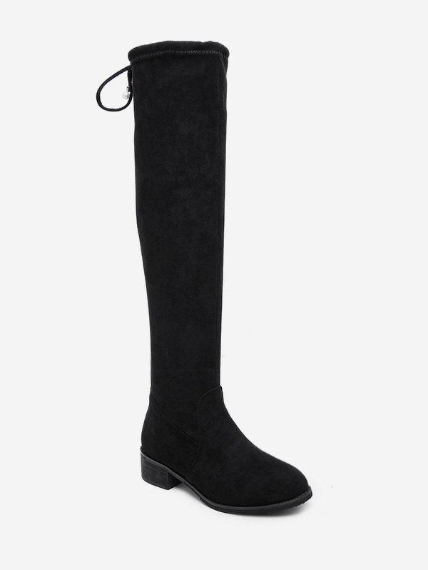 Sale Chunky Heel Suede Thigh High Boots