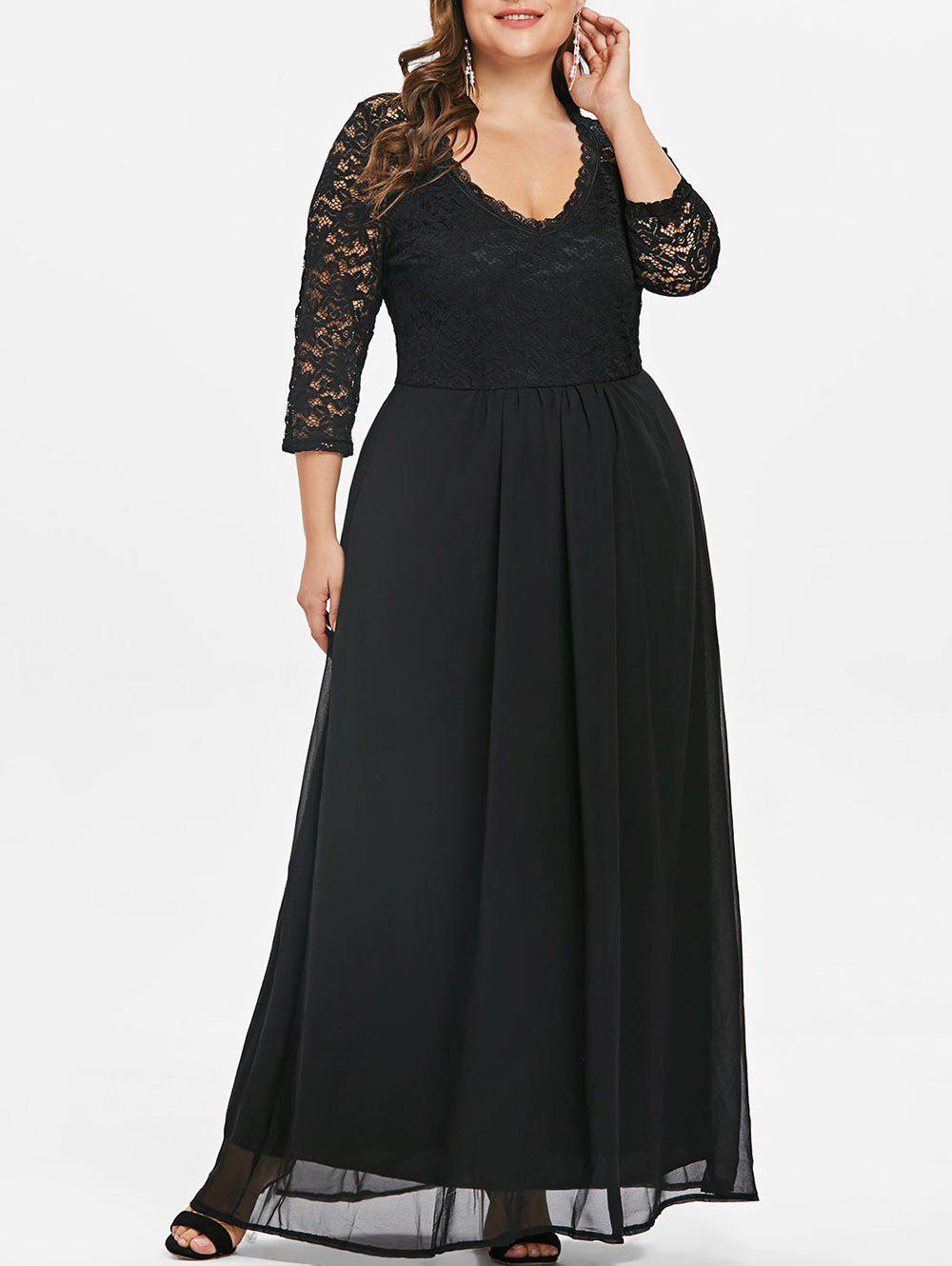 Fancy Sweetheart Neck Plus Size Lace Panel Maxi Dress