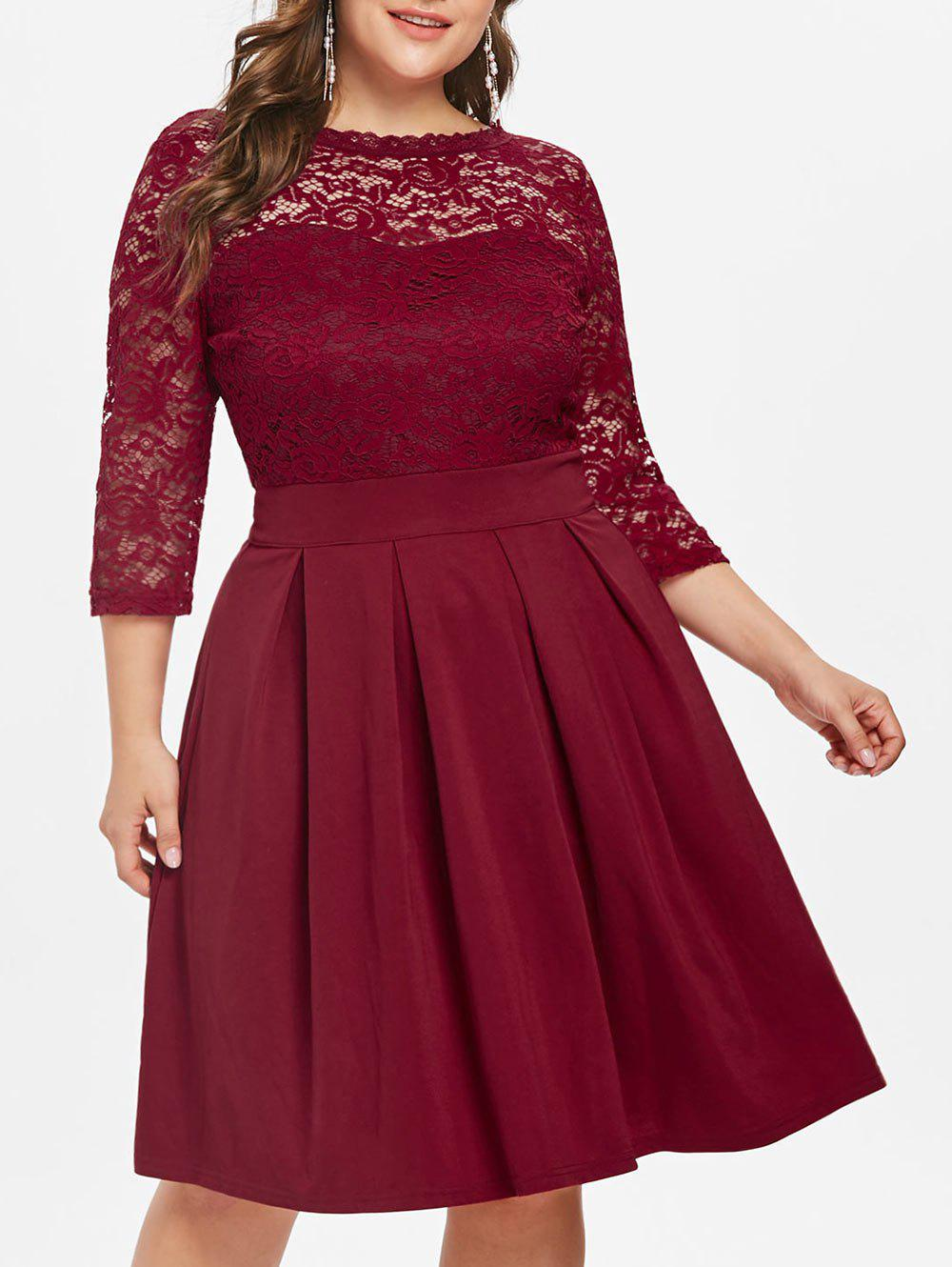 Cheap Round Neck Plus Size Lace Panel A Line Dress