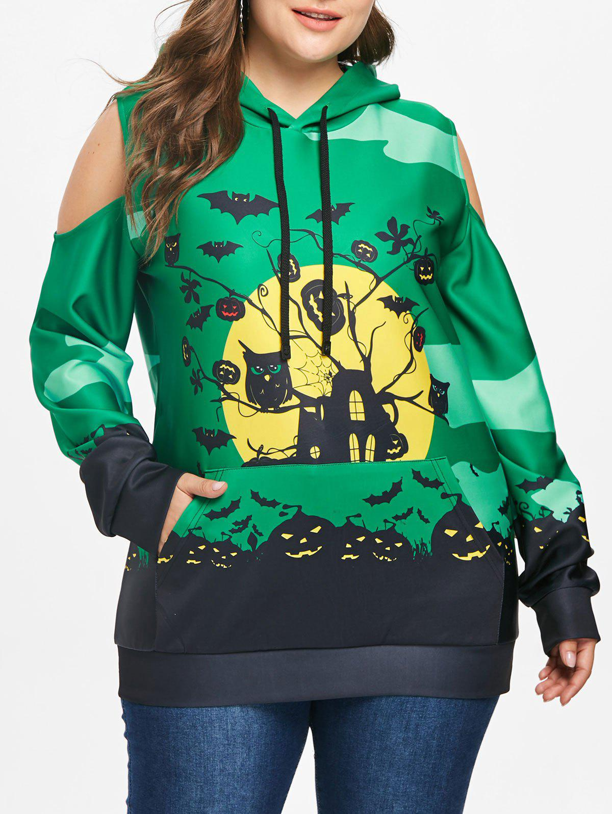 Online Plus Size Halloween Cold Shoulder Hoodie