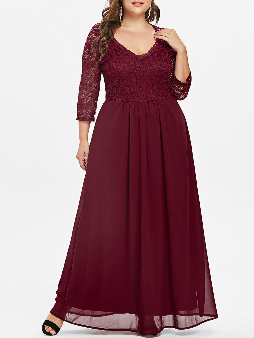 Fashion Sweetheart Neck Plus Size Lace Panel Maxi Dress