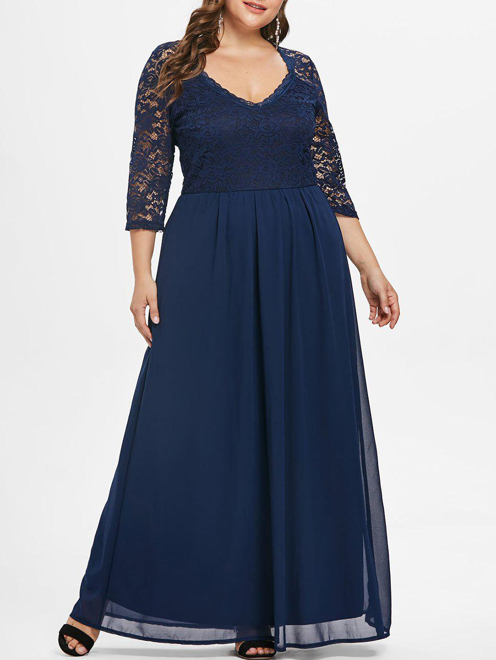 Best Sweetheart Neck Plus Size Lace Panel Maxi Dress