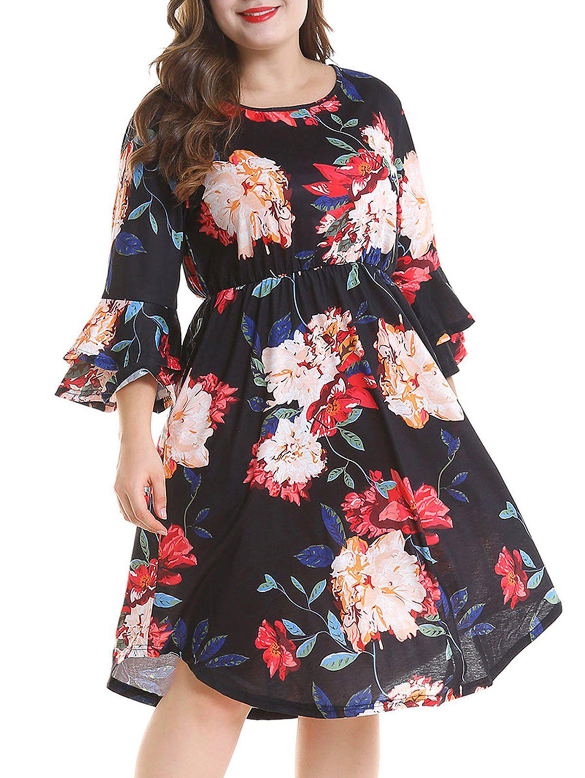 Discount Plus Size Bell Sleeve Floral Dress