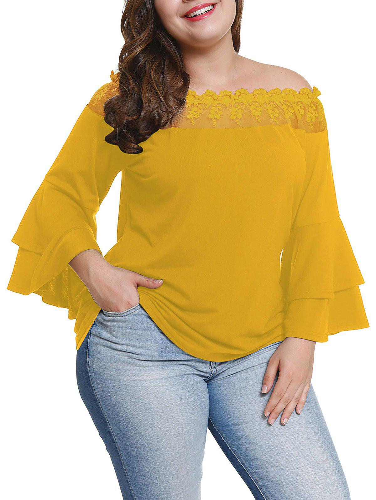 Fashion Plus Size Bell Sleeve Sheer Lace Off Shoulder Blouse