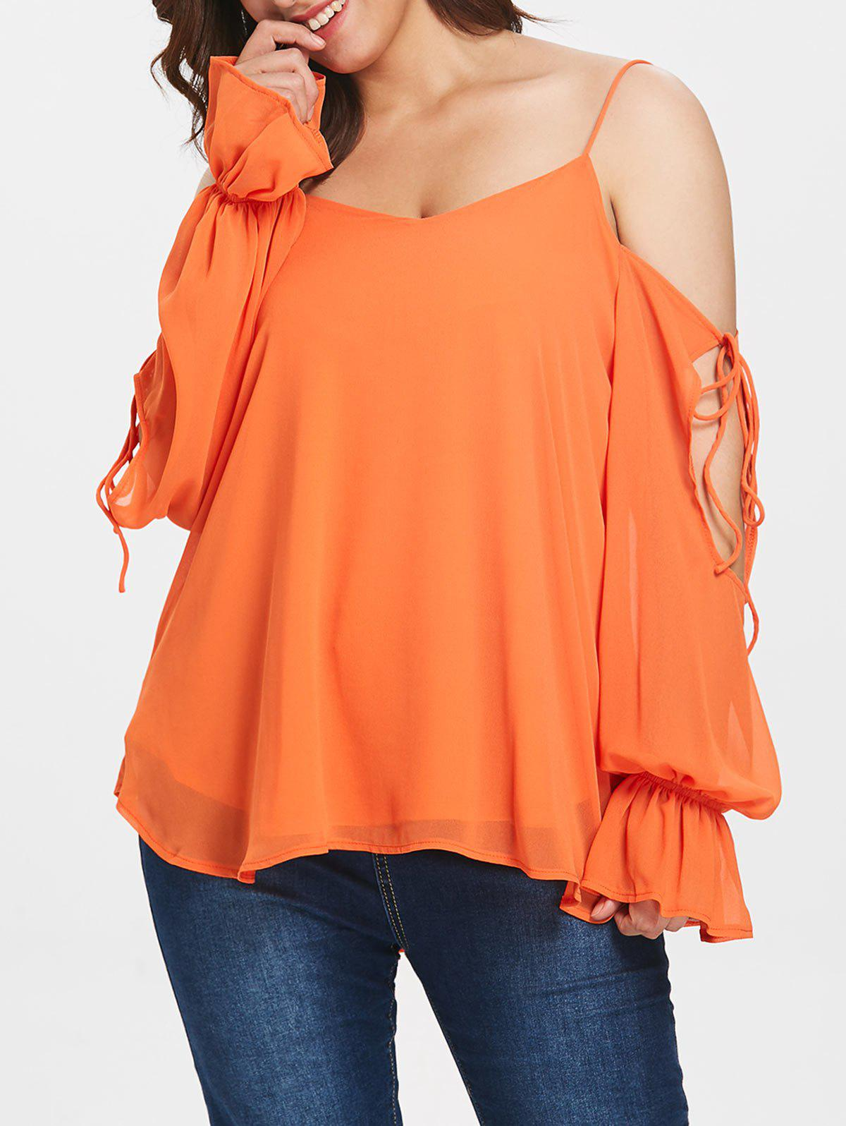 Affordable Open Shoulder Plus Size Spaghetti Strap Blouse