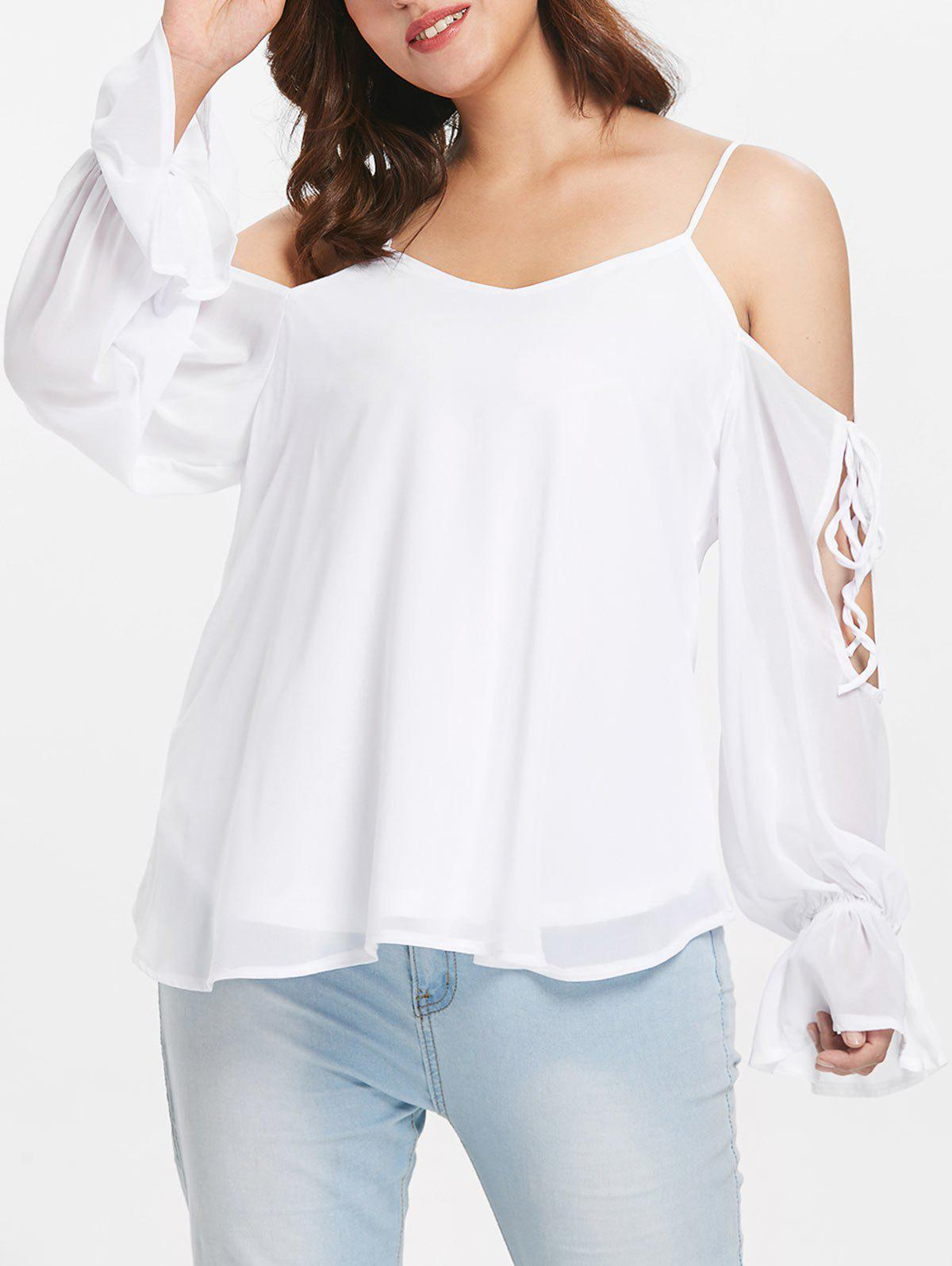 New Open Shoulder Plus Size Spaghetti Strap Blouse