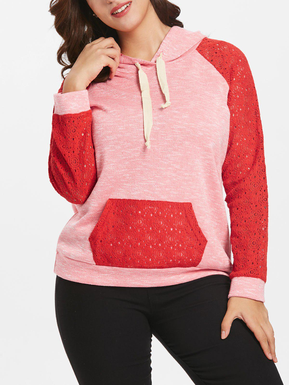 New Lace Raglan Sleeve Plus Size Kangaroo Pocket Hoodie