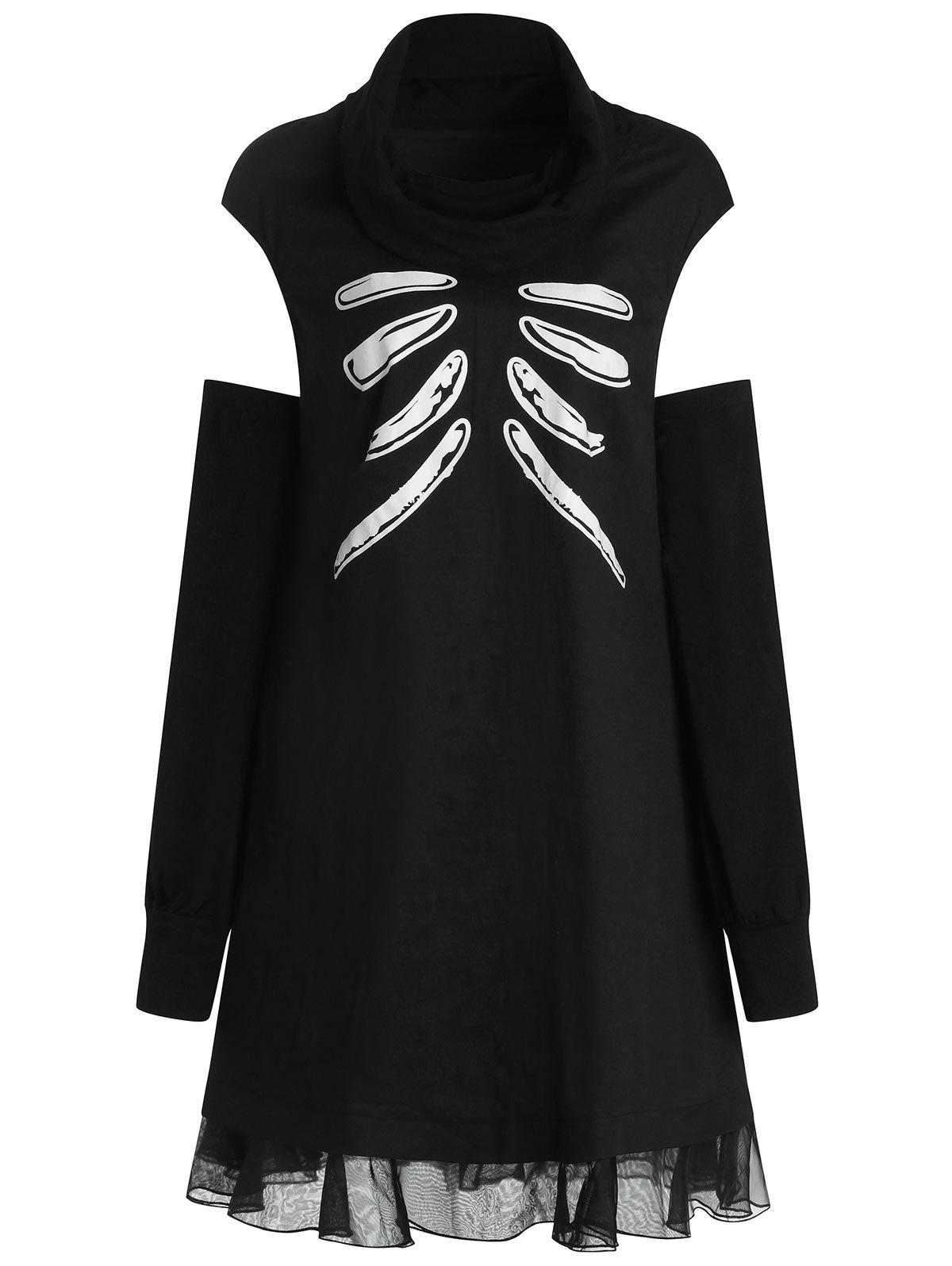 Hot Plus Size Skull Bone Halloween Dress