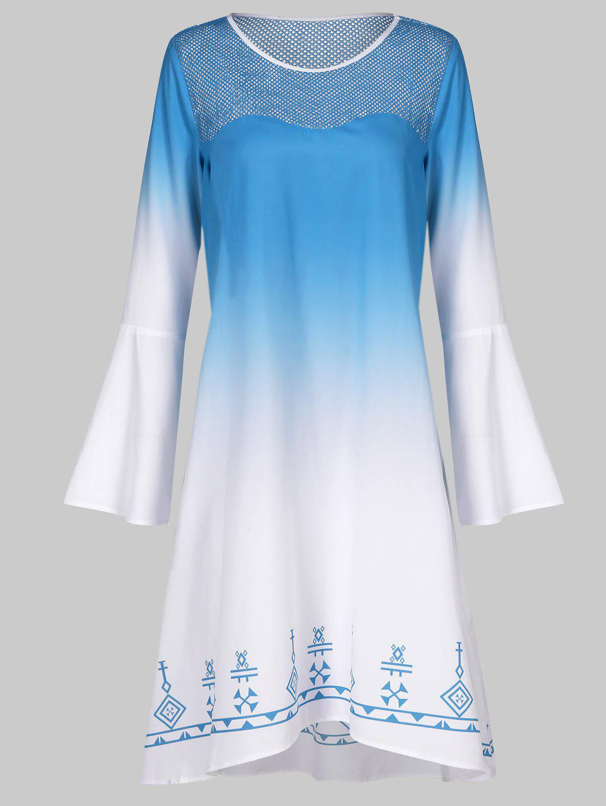 Outfits Bell Sleeve Ombre Trapeze Dress
