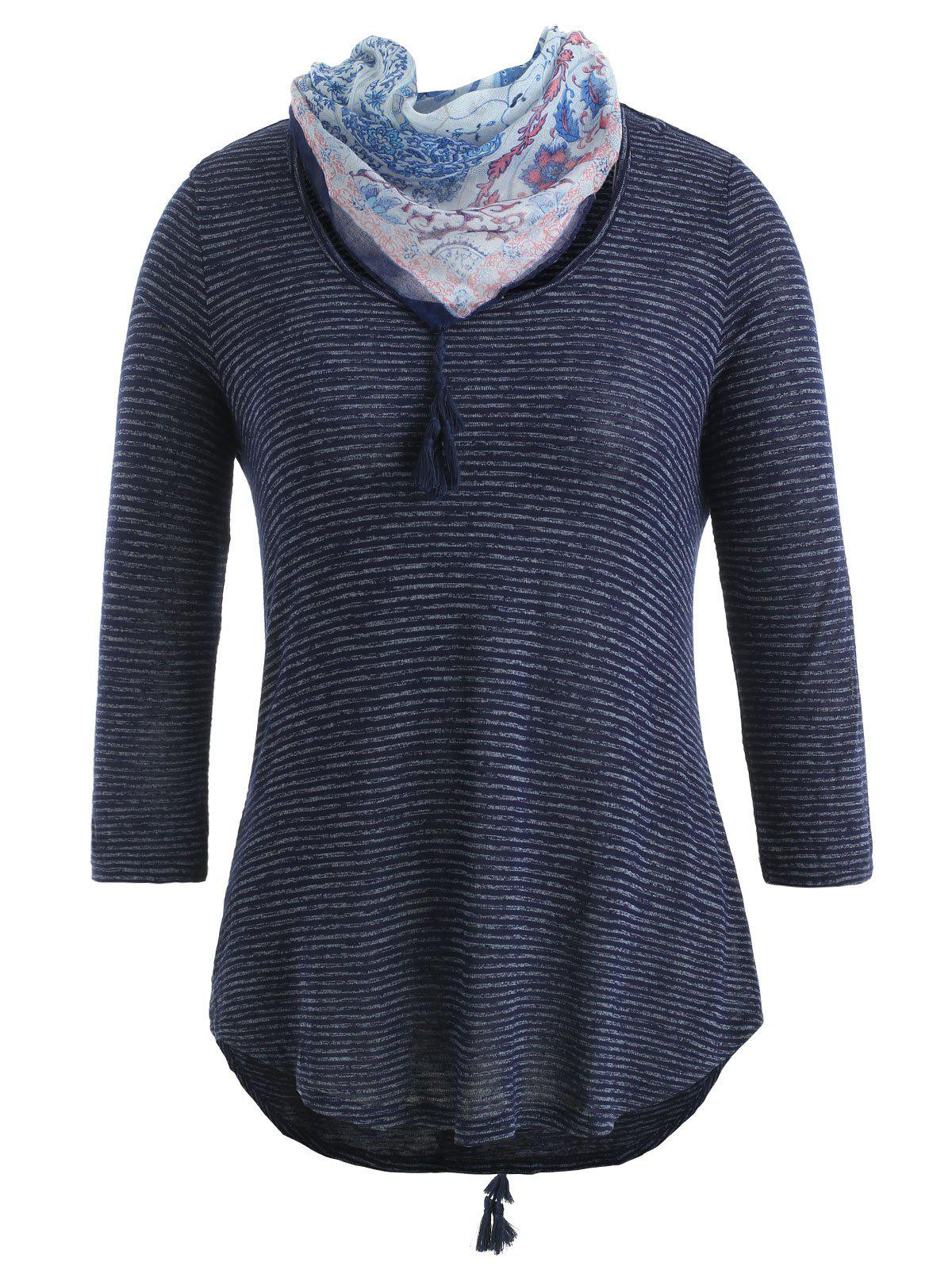 Store Striped Print T-shirt with Floral Scarf