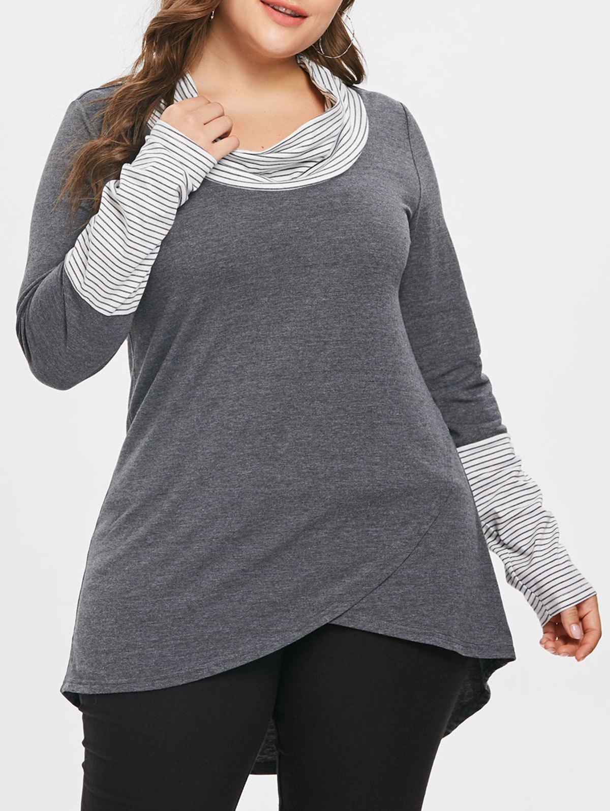 Discount Plus Size Stripe High Low Tunic Tee