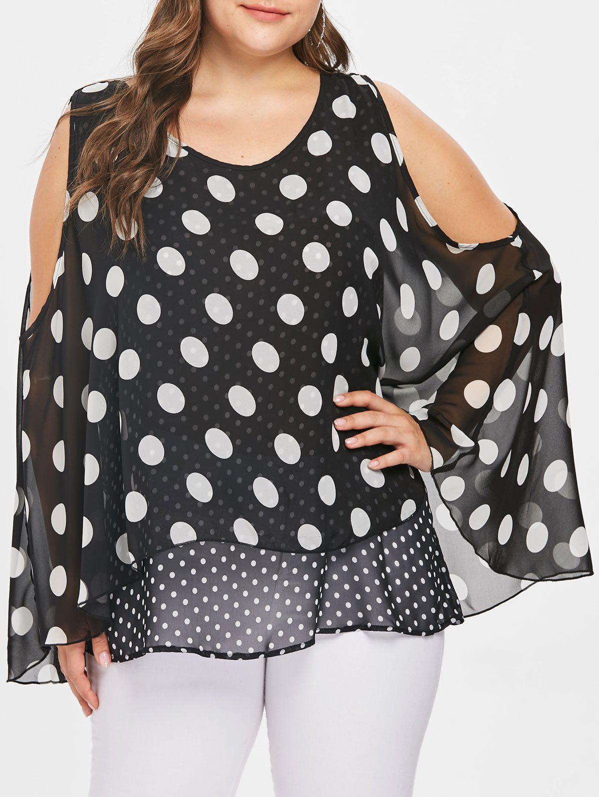 Chic Cold Shoulder Plus Size Overlay Polka Dot Blouse