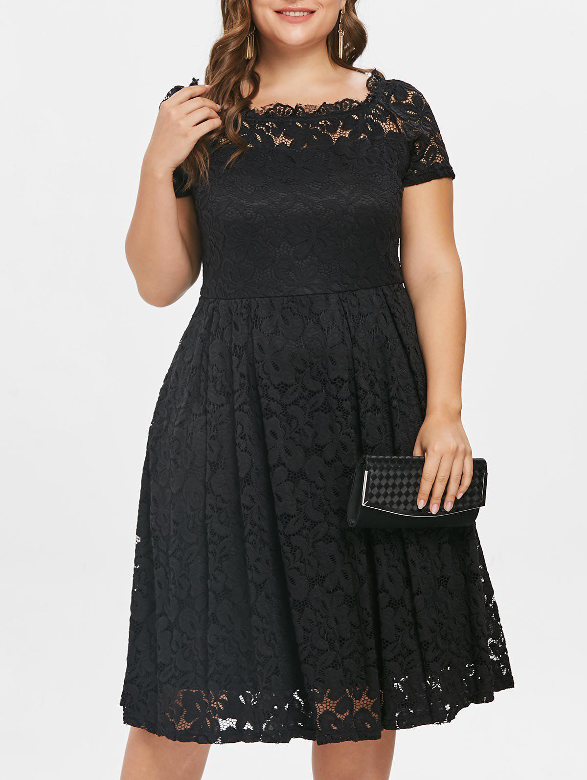 Discount Scalloped Off The Shoulder Plus Size Lace A Line Dress