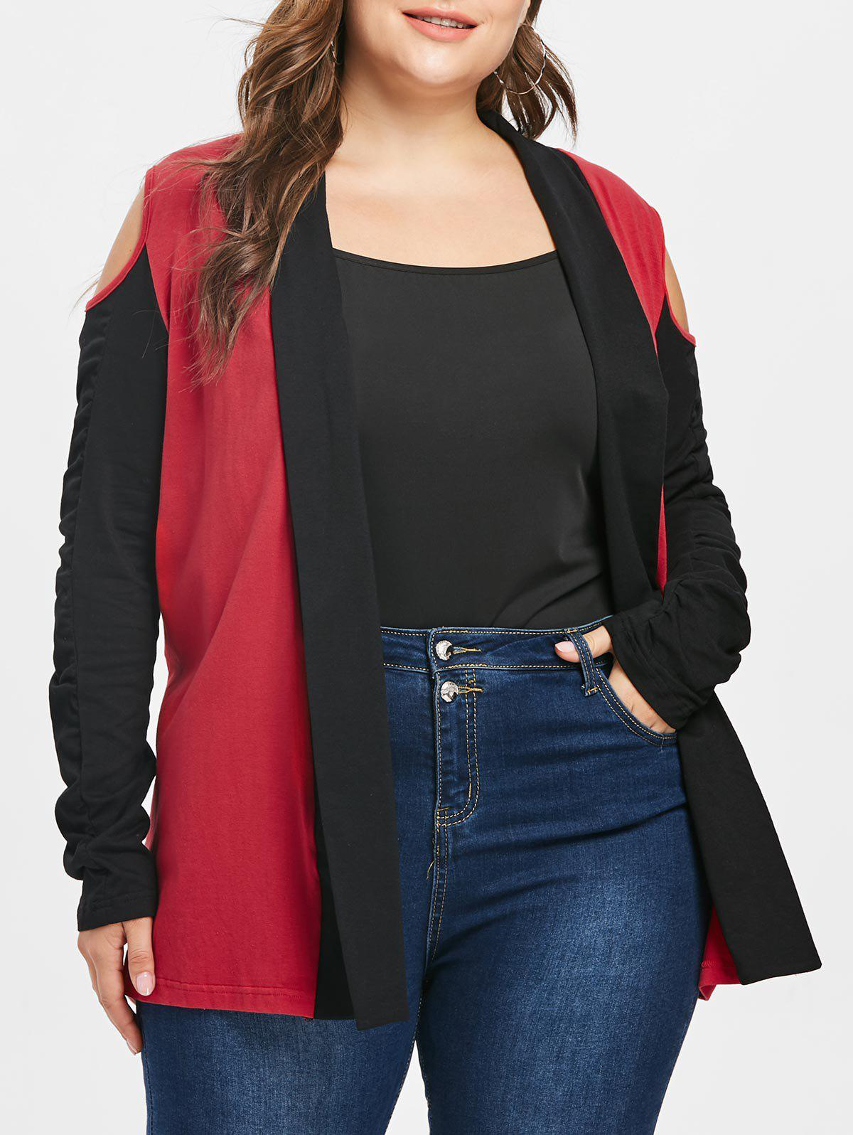 Chic Plus Size Cold Shoulder Patchwork Jacket