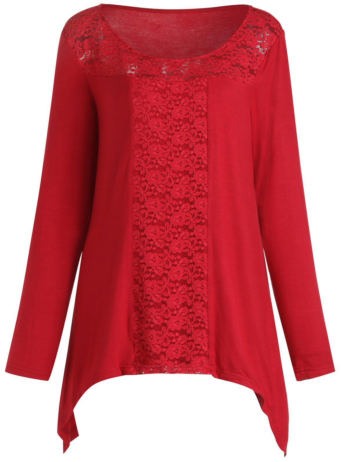 New Plus Size Lace Spliced Long Sleeves Tee