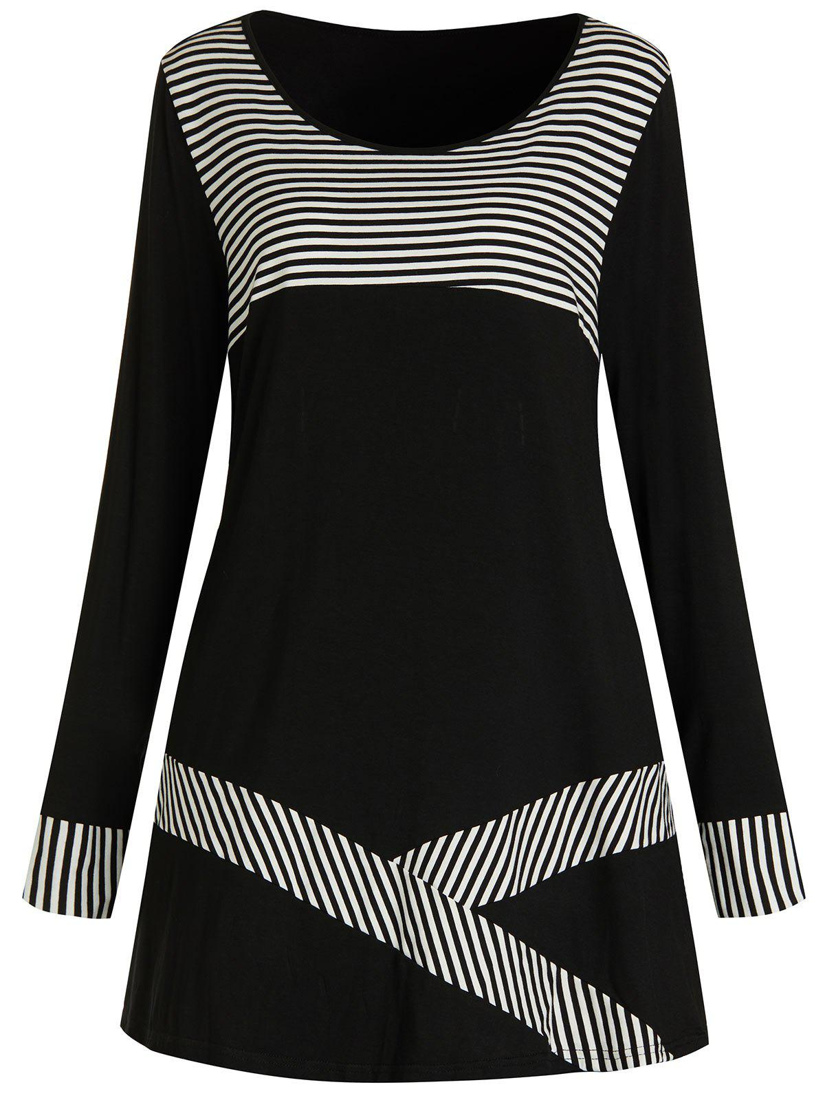Image of Plus Size Stripe Patchwork Long Sleeves T Shirt