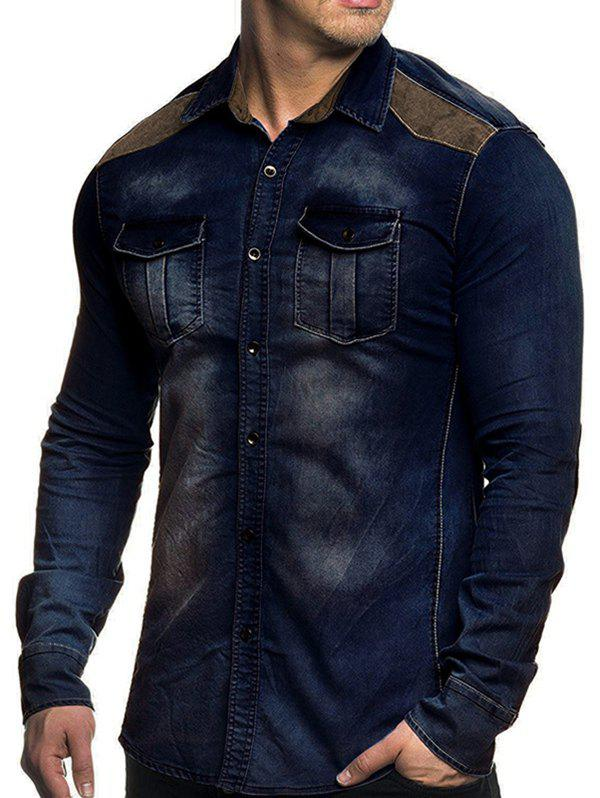Store Denim Chest Pockets Long Sleeve Panel Shirt
