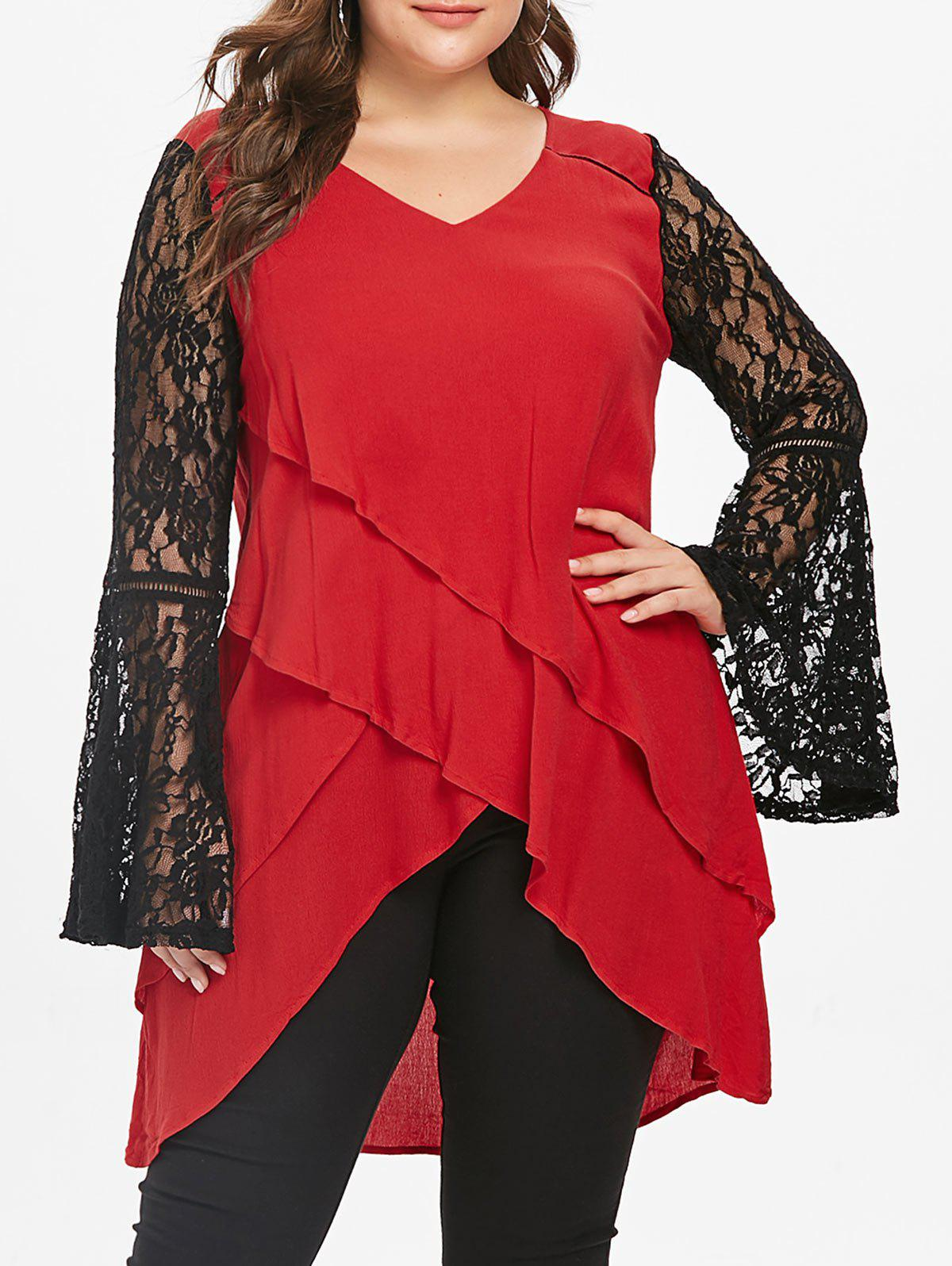 Latest Plus Size Bell Sleeve Lace Panel Layered Top