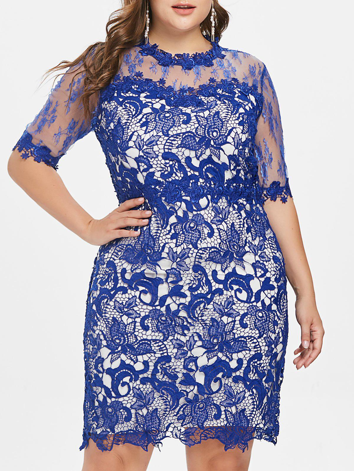 Fashion Plus Size Mesh Yoke Lace Dress