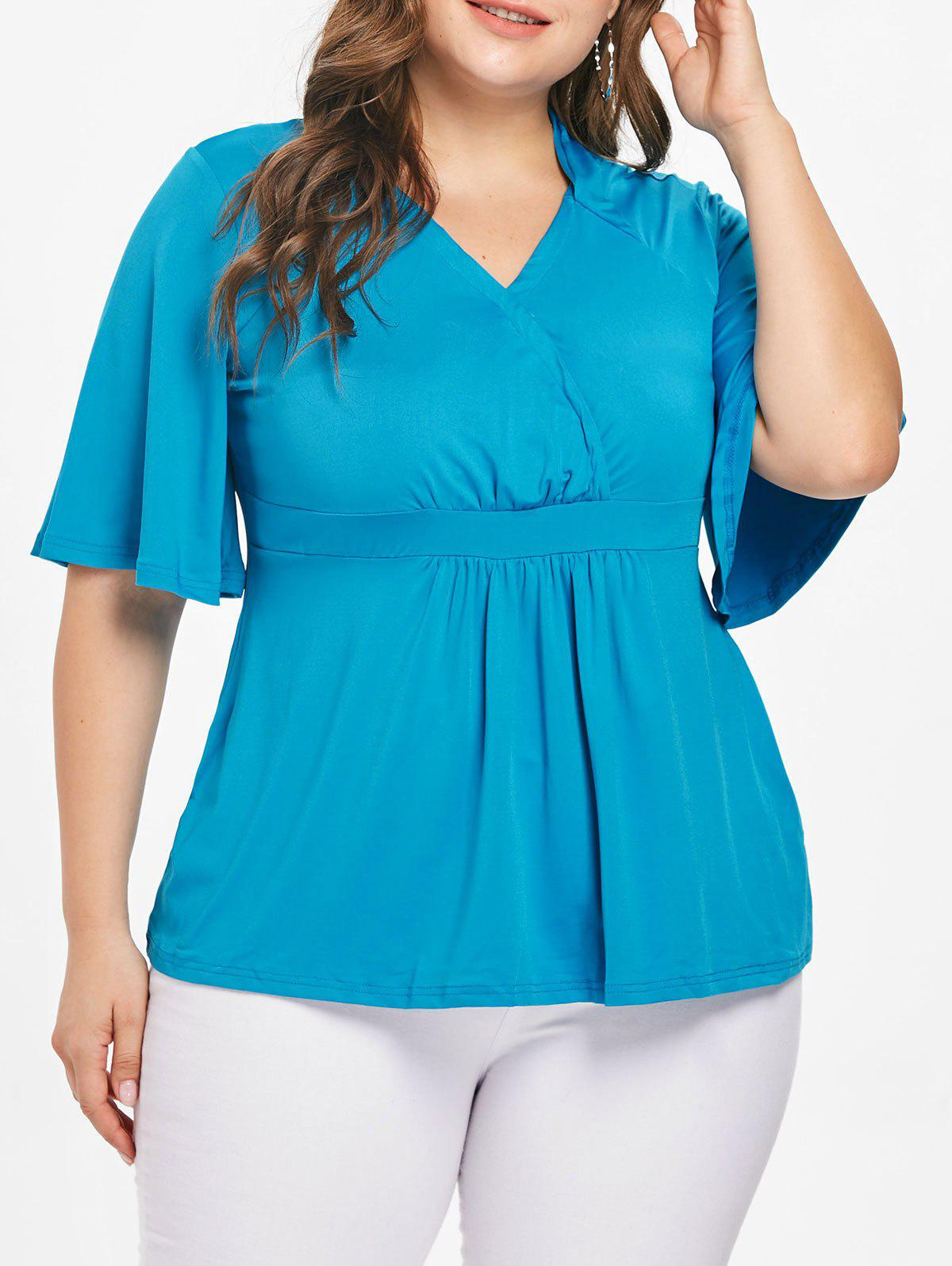 Discount Stylish Plus Size Flare Sleeve Solid Color V-Neck Blouse For Women