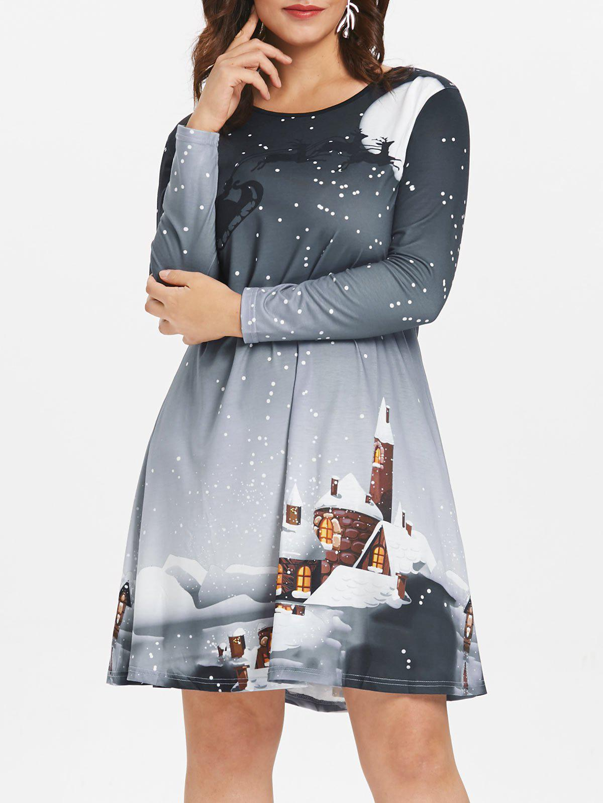 Online Christmas Plus Size Graphic Long Sleeve Dress