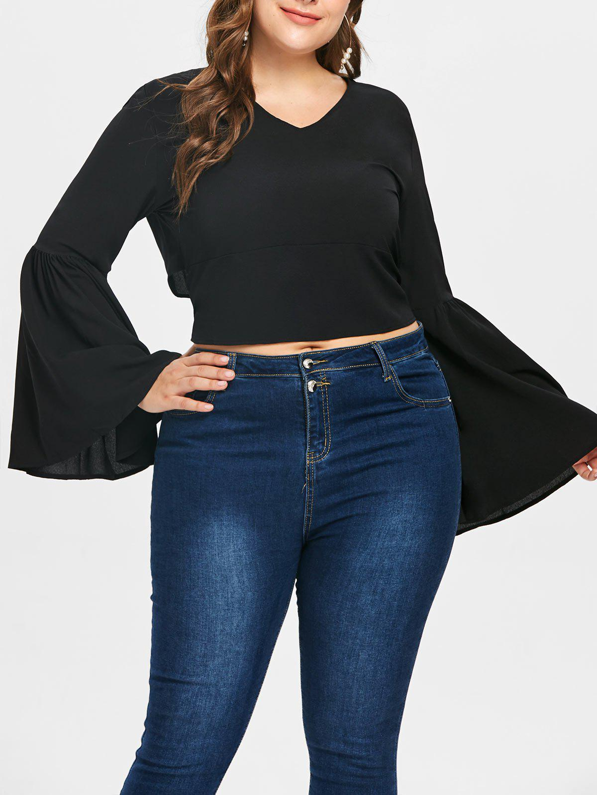 Hot Plus Size Flare Sleeve Crop Blouse
