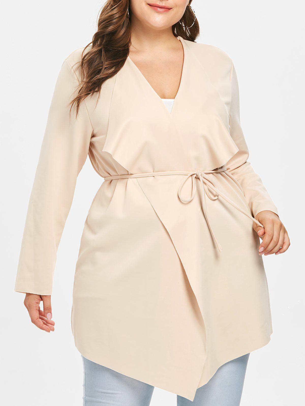Discount Draped Collar Plus Size Belted Coat