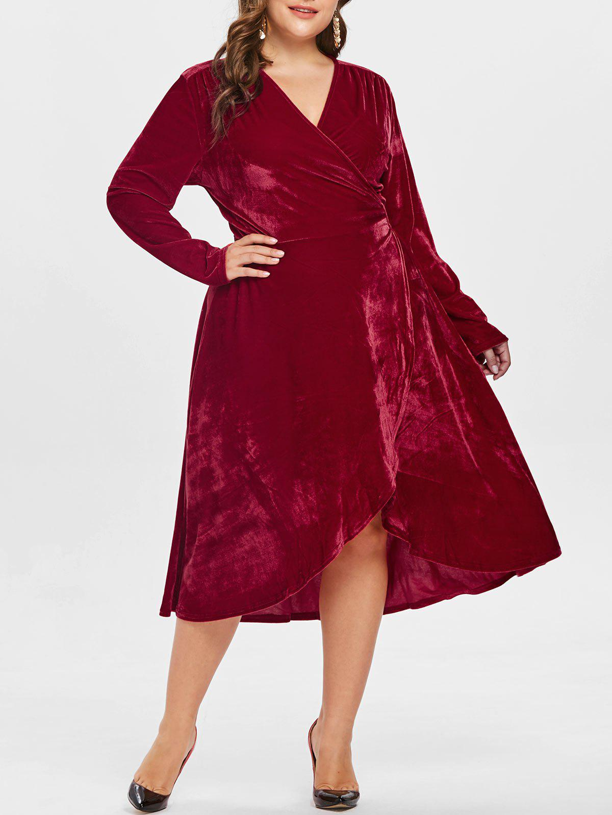 Fashion Full Sleeve Plus Size Velvet Wrap Dress