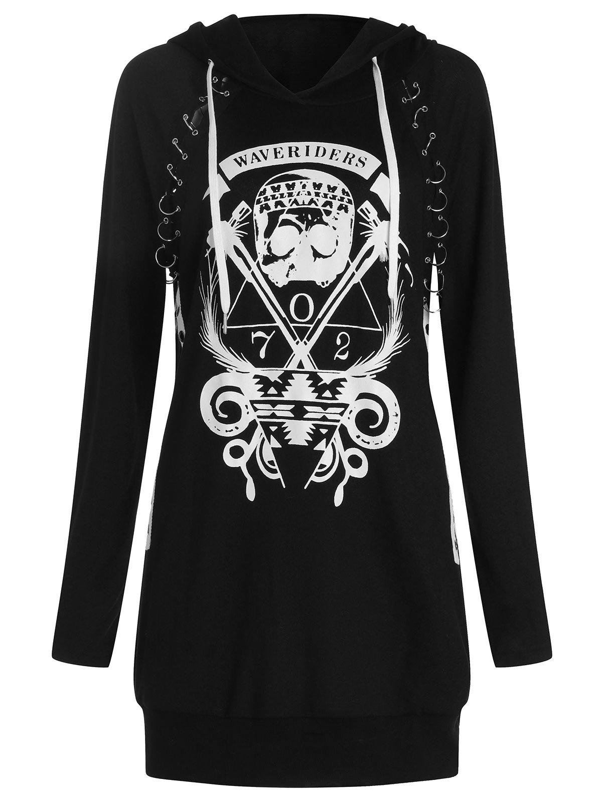 Discount Skulls Letters Print Pullover Hoodie with Becket