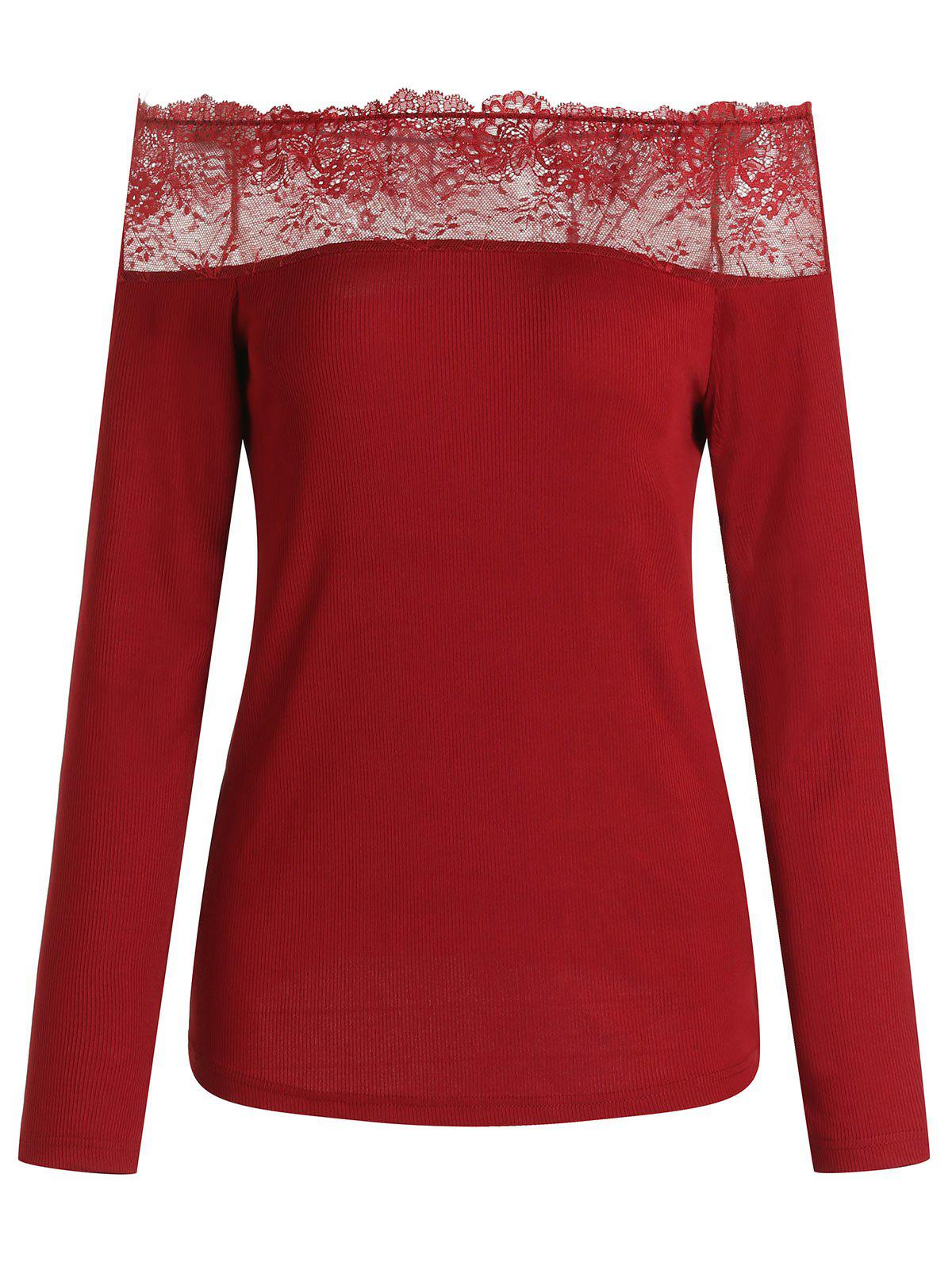 Fancy Off Shoulder Lace Insert Ribbed Knit Top