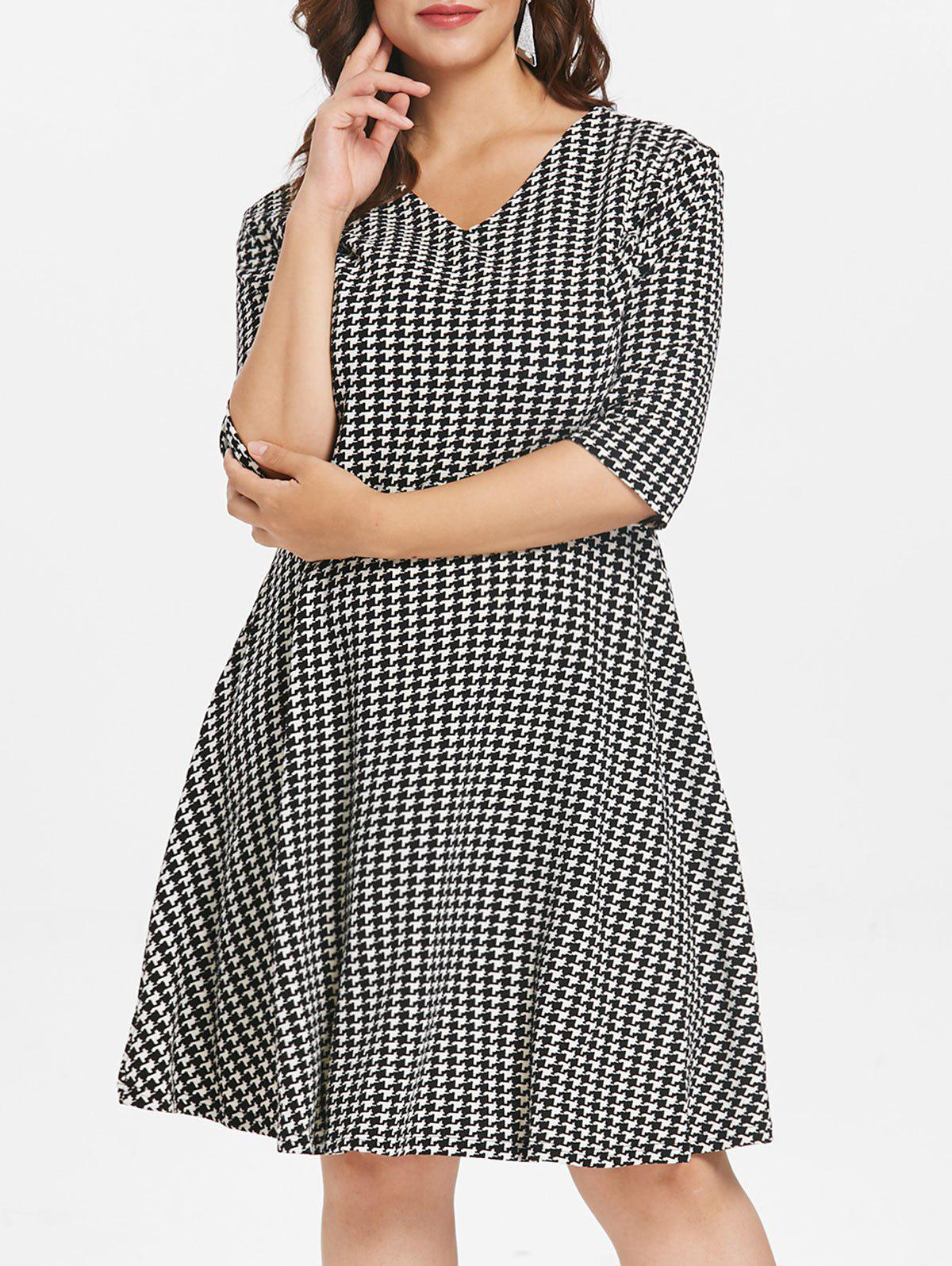 Cheap Plus Size V Neck Houndstooth Dress