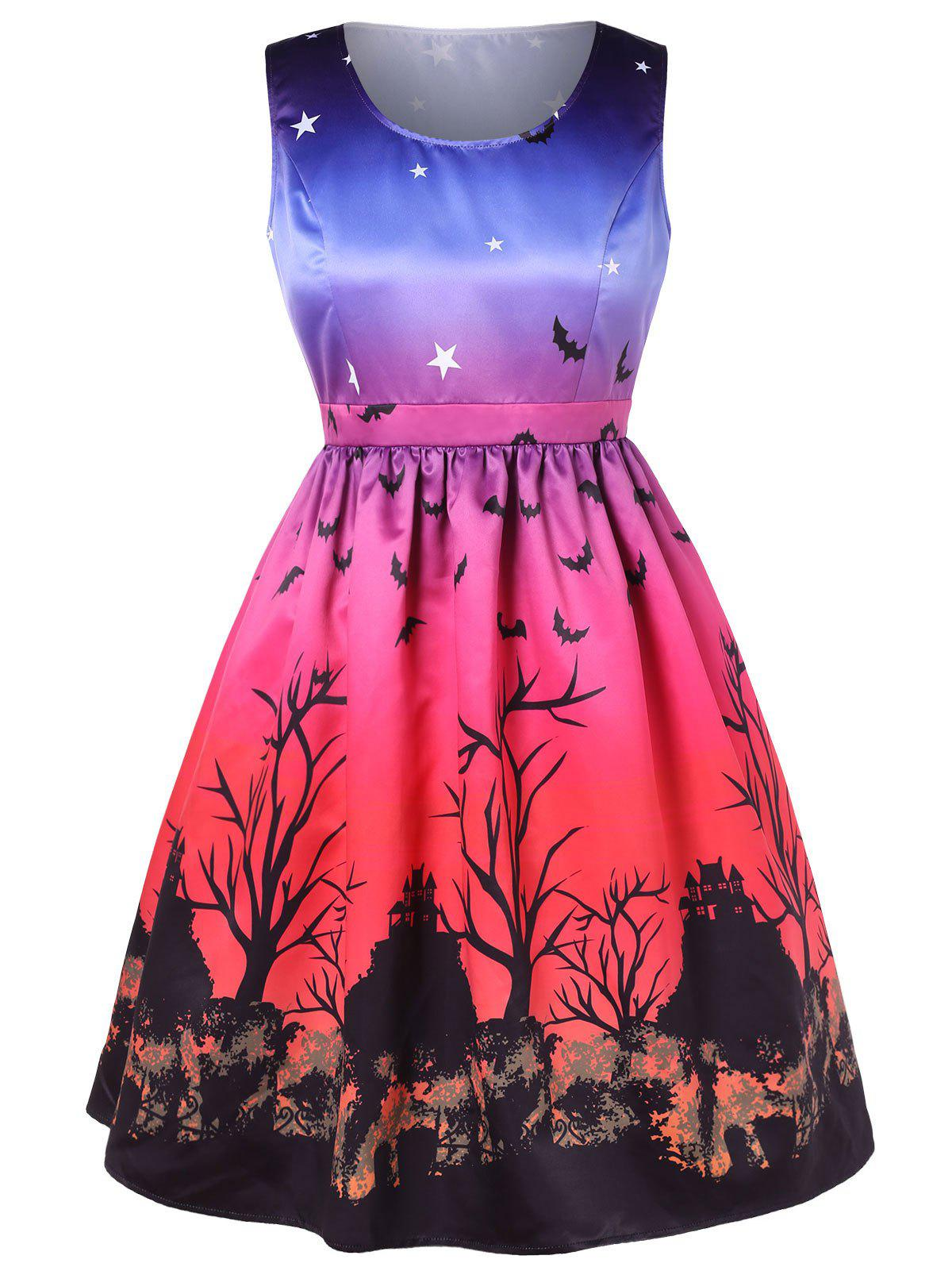 Shops Halloween Plus Size Bat Print Sleeveless A Line Dress