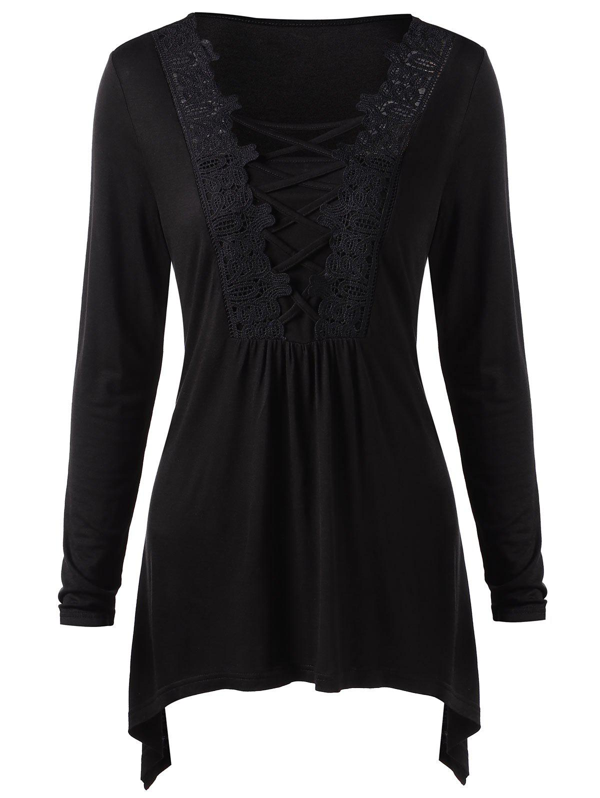 Trendy Long Sleeve Lace Panel Criss Cross Tee