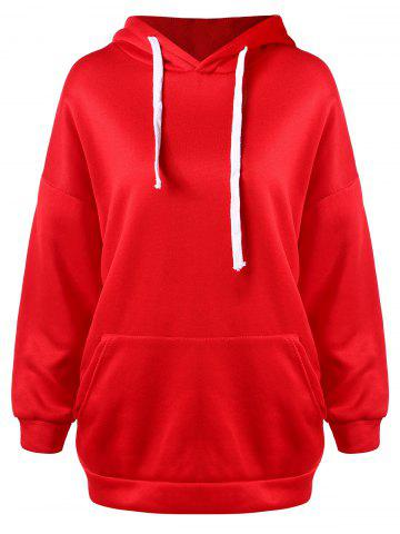 Drawstring Tunic Pullover Hoodie