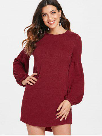Puff Sleeve Mini Knit Dress