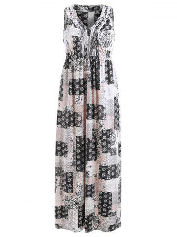 Sleeveless Patchwork Print Bohemian Dress