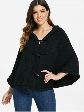 Hooded Buckle Poncho Sweater