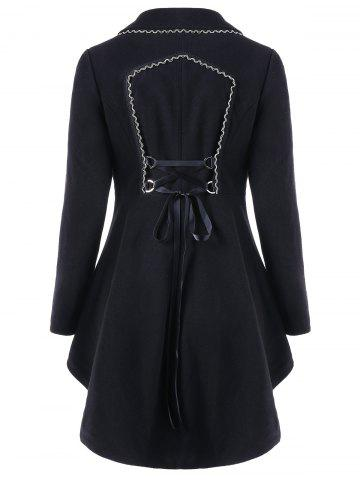 High Low Longline Coat with Lace Up - BLACK - M