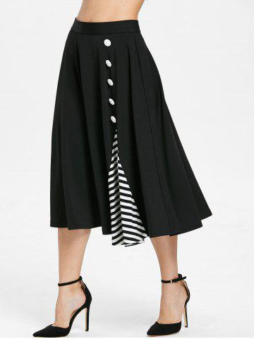 Stripe Insert Midi Flare Skirt with Buttons