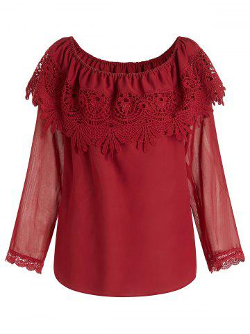 Plus Size Off Shoulder See Through Sleeves Overlay Chiffon Blouse - RED - L