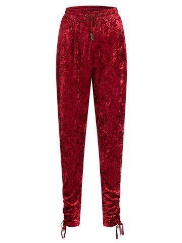 Gathered Cuffs Velvet Plus Size Joggers Pants - RED - L
